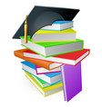 education book pile graduation hat concept vector image vector image