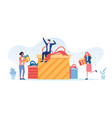gift giving concept with multiracial people vector image