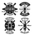 kayaking set of four monochrome emblems vector image vector image
