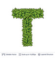 Letter t symbol of green leaves vector image