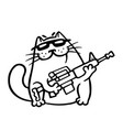 mafia fighting cat with a submachine gun is ready vector image