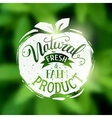 Natural fresh and farm food emblem vector image