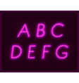 neon italic font type alphabet glowing in vector image