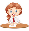 one happy girl writing on paper vector image vector image