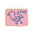 pink vintage postcard with bird and love lettering vector image vector image