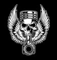 piston skull wing chopper club vector image