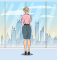 pop art successful business woman looking at city vector image vector image
