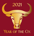 red gold 2021 year ox chinese new year vector image