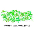 royalty free cannabis leaves style turkey map vector image