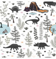 seamless pattern with cute different vector image vector image