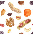 seamless pattern with nuts and dried fruits vector image vector image
