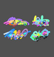set of abstract digital painting elements isolated vector image