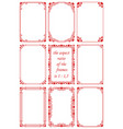 set rectangular frames with red hearts vector image vector image