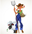 Sexy farm girl with agricultural implements and vector image vector image