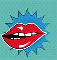 sexy female lips teeth bubble speech pop art vector image