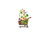 shopping cart and vegetables on white background vector image
