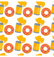 soda and donut seamless pattern fast food and vector image vector image