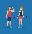 strong couple lifting weight vector image vector image