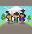 students celebrating graduation vector image