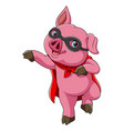 superhero cute pig cartoon vector image vector image