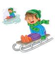 winter small boy sledding vector image