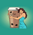 woman hugs coffee cup vector image vector image