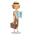 woman tourist with map suitcase hat vector image vector image
