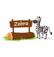 zebra zoo sign vector image vector image