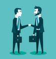 two businessmen in suits are handshaking vector image
