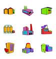plant icons set cartoon style vector image