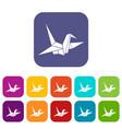 bird origami icons set vector image