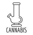cannabis glass bong logo outline style vector image vector image