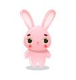 cartoon funny cute pink rabbit child vector image vector image