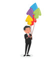 character design businessman with balloon vector image