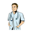 cheerful male doctor with stethoscope and hand in vector image