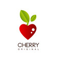 cherry original creative logo template with ripe vector image