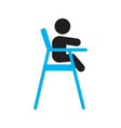 child sitting in dining highchair silhouette icon vector image