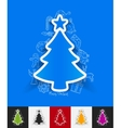 christmas tree paper sticker with hand drawn vector image vector image