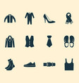 clothes icons set with sleeveless tank necktie vector image vector image