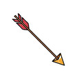 colored crayon silhouette of hunting arrow vector image vector image