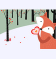 cute fox in the forest background vector image vector image