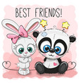 cute panda and rabbit girl