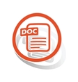 DOC document sign sticker orange vector image vector image
