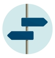 Flat design round icon of directional arrow road vector image