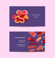 flat meat and sausages icons business card vector image vector image