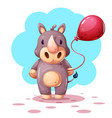 funny cute cartoon rhino characters vector image vector image