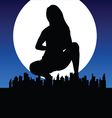 girl silhouette with city vector image