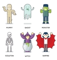 Halloween Party Monster Roles Characters Icons Set vector image vector image
