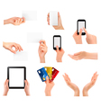 hands business objects set vector image