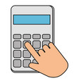 hands with calculator math isolated icon vector image vector image